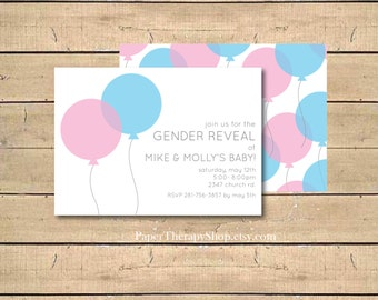 GENDER REVEAL Pink and Blue Balloons invite Digital File or Prints