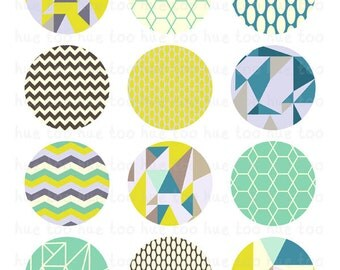 geometric 2 inch circles, polygons triangles chevron pattern cupcake toppers printable collage sheet, turquoise blue mustard yellow gray 928