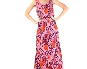 Youthful Style Dress, Rayon, Silk and Velvet Dress, Sleeveless Dress, Long Dress, V Neckline, Orange, Red and Burgundy Colors, Impressive