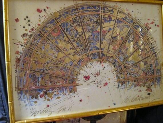 Vintage William Gatewood Signed Litho Art Spring Fan