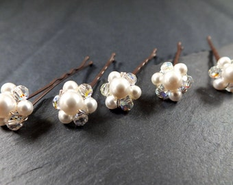 crystal and pearl hair pin ,set of 5, floral wedding hair, flowers for hair, bridal hair accessories , bridesmaids hair