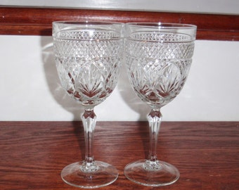 """2 CRIS D'ARQUES DURAND Antique Clear Cut Crystal Water Wine 7 5/8"""" High Glasses Stems France Glass Heavy Excellent Condition"""