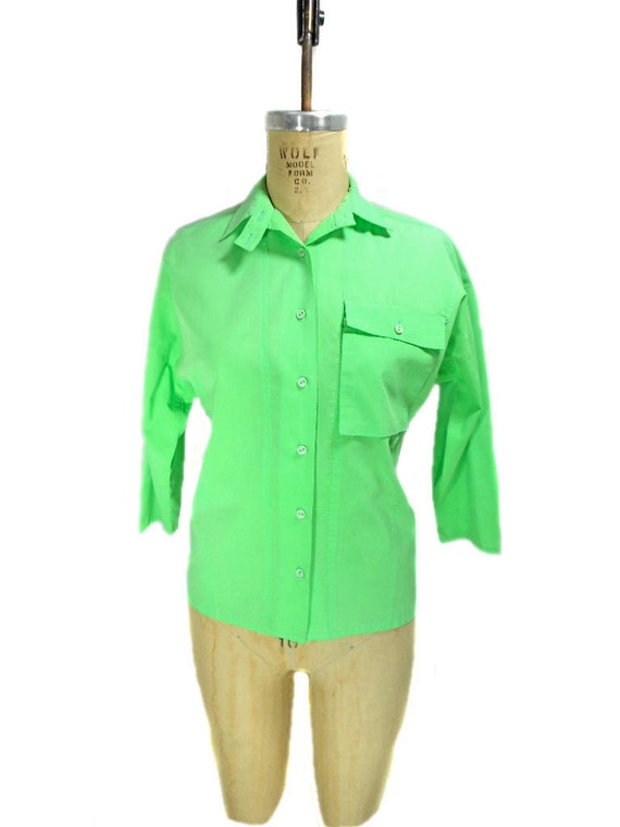 vintage neon green blouse / Jo Matthews / cotton / button front / lightweight / women's vintage blouse / size 5/6