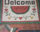 Watermelon Welcome Original Rugpoint Rag ~ Painted Rug Canvas