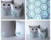 owl pillows, set of 2, aqua blue and grey owls, owl, decorative owl, geometric hexagon pillows, aqua, gray nursery by whimsysweetwhimsy