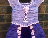 Rapunzel crochet dress (0 to 24 months, instant download)