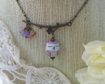 Sleeping Violet Owl on a Branch Necklace