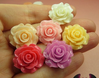 7 pcs 20mm ROSES Resin Flower Cabochons / Decoden Flatback Cabochon