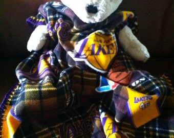Los Angeles Lakers Plaid Basketball Fleece Sports Baby Blanket