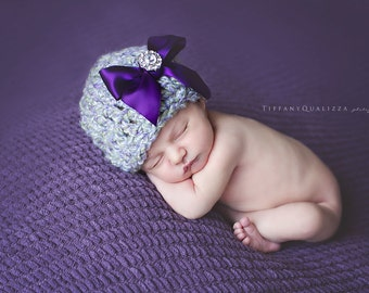 Newborn girl hat, baby girl hat, purple bow beanie with rhinestone jewel button, infant girl hat, newborn girl photo prop, chunky, soft
