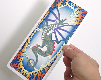 Dragon Card papercut Any occasion Fire breathing flying dragon card