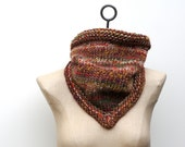 The Back Woods Bandana Cowl ~ Hand Knit 100% Wool Bulky Infinity Scarf in Bramble