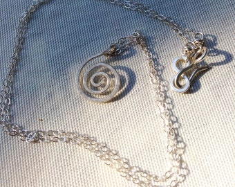 Sterling Silver Spiral Necklace - Small Koru Spiral -  Hammer Formed - Subtle Hammered Texture