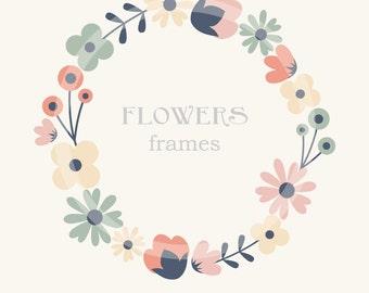 Flower Border Clip Art, Frames, Royalty Free Clip Art, N02, Instant Download