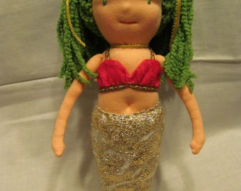 SALE, Waldorf inspired Mermaid doll, Bling!!  One of a kind.