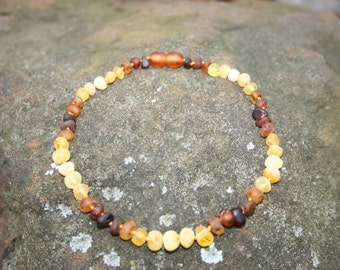 Teething Necklaces Baltic Amber - Rainbow Sunrise - Unpolished - Bracelets, Anklets, Bellychains (children and adult sizes)