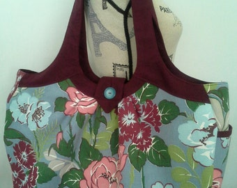 Large floral tote bag / diaper bag made with vintage 1940's floral  fabric