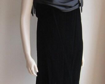 Vintage 80s cocktail dress Inner Circle black velvet satin drapery diamante straps Bust 34