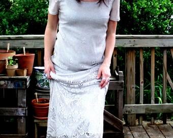 Sparkling Silver Lace Maxi Dress, S.L. Fashions, vintage 1980s, size small-medium