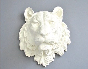 Large Tiger Head Faux Taxidermy Wall Hanging Wall Mount Wall Decor faux taxidermie faux animal head safari decor white tiger head wall art