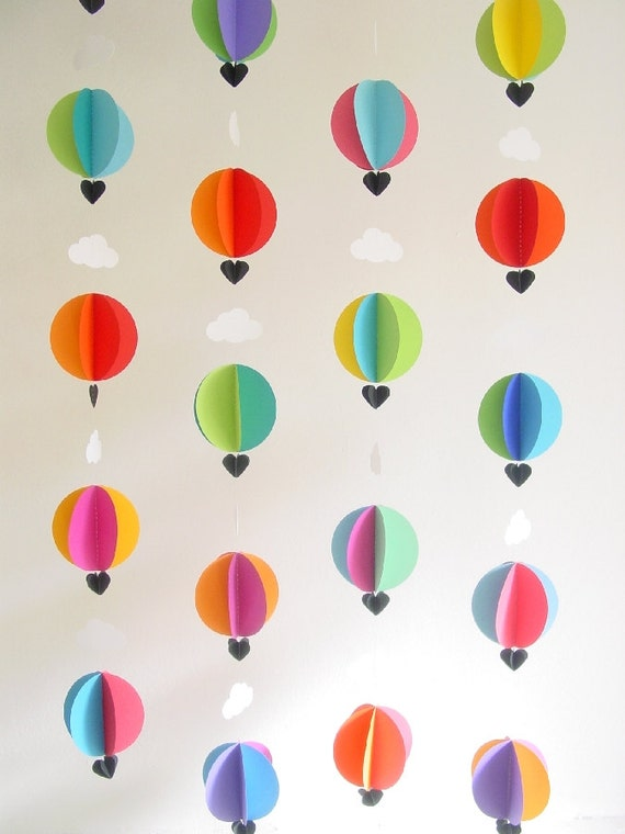 "Hot Air Balloon Garland ""Bright Spark"" - Bright Party Decor - Bright Nursery - Gender Neutral Gift - Baby Shower Decoration - Baby Mobile"