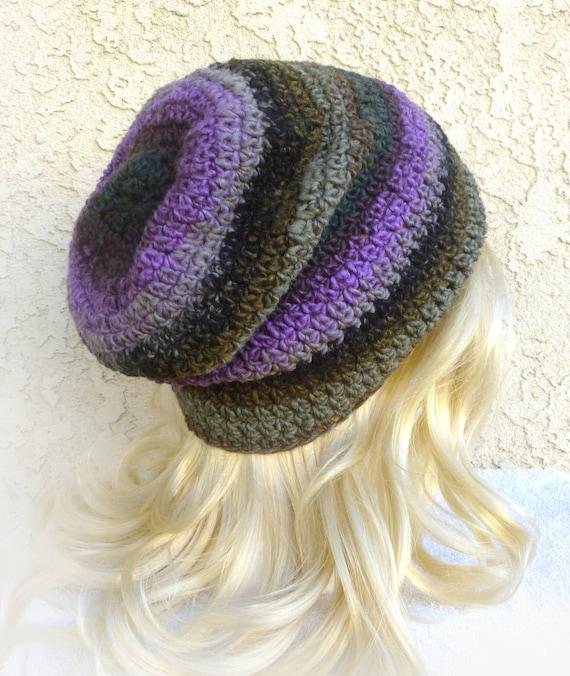 LIMITED EDITION Slouchy Gaming Hat Dark Green Purple Brown stripes Baggy Mens Womens teen Beanie 'NINJA'