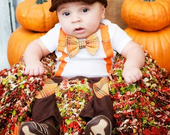 New Baby Boy Tie Bodysuit with Suspenders, Bowtie, and Matching Hat. Thanksgiving Fall Harvest Plaid.  Fall Photo Prop, Christmas Pictures