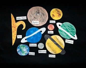 Educational Toy - Montessori Felt Solar System - Felt Board - Flannel Board Space Planets - Felt Story - Homeschool