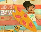 "Surfer girl illustration print - Beachy summer fun - 8""x10"" archival giclee print for tween girl"