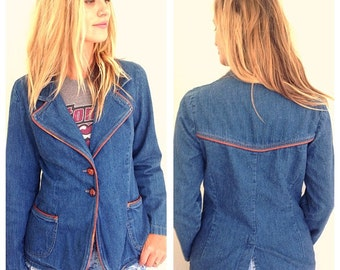 vintage hipster 1970s denim jean blazer with brown leather trim, twin peaks jacket