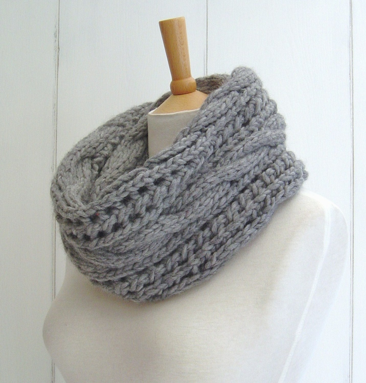 KNITTING PATTERN for Chunky Cable Lace Infinity Scarf Instant