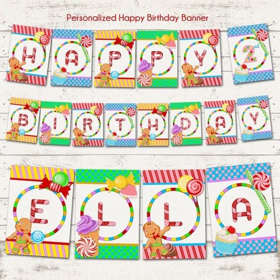 Candy Land Birthday Banner Sweet Shoppe Personalized Printable Designs Ice Cream