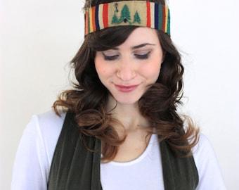 Vintage Handmade Beaded Native American Feather Headband