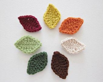 """DESTASH- 7pcs 2.5"""" Crochet FALL  Leaf Applique"""