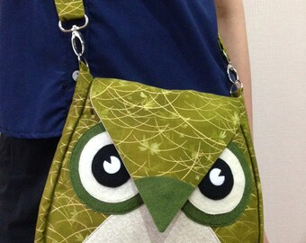 Goldie: Green, Brown, Yellow, Gold, Flip Bag, Owl Bag, messenger bag, tote, animal, kid bag, children bag, fabric bag, girl bag, boy bag