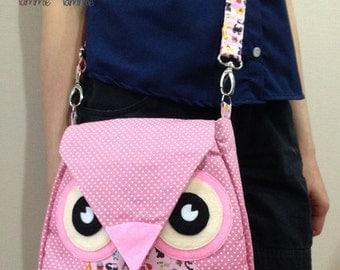 Annie: Pink Flip Bag, Owl Bag, messenger bag, tote, animal, women, kid bag, children bag, fabric bag, girl bag, boy bag, poke dot, cute