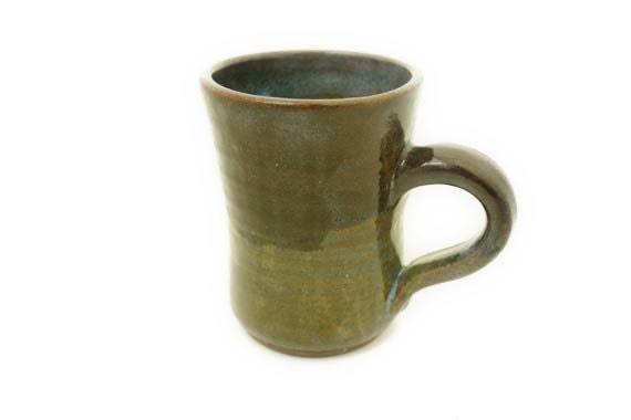 Brown, beige, and pale blue ceramic stoneware mug