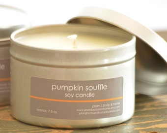 SALE - Pumpkin Souffle Soy Candle Tin 8 oz. - pumpkin candle - bakery candle - fall candle - holiday candle - food soy candle