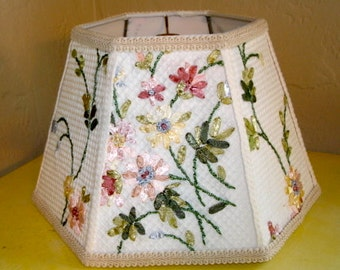 Floral Design Fabric Lamp Shade - Cottage Chic Lamp, Farmhouse Decor, Rustic Cottage Decor Lampshade