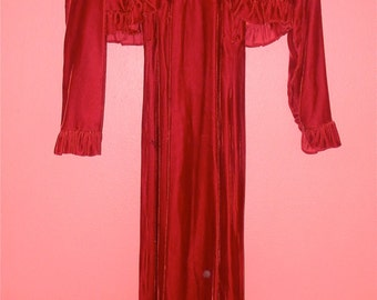 XS Extra Small Vintage 70s Velvet Dress Cranberry Red Sexy Sleeveless Maxi Gothic Grunge Indie Hipster Dress Long Sleeve Jacket Bolero
