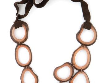 SALE 50% Off / Tagua Statement Necklace / Tagua Jewelry / Tagua Necklace / Sand Colored Necklace / Statement Necklace / Geometric Necklace
