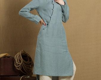 Linen Tunic Dress In Grey Blue / Linen Tunic Blouse / Longsleeve Winter Blouse Top - Custom