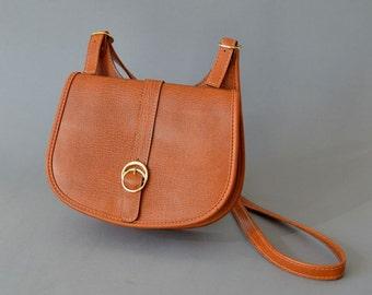 Vintage vegan saddle bag hand bag purse equestrian satchel long shoulder strap 70s cross shoulder