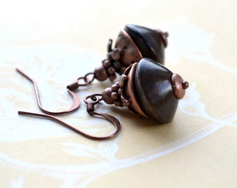 Wood Bead Earrings, Brown Earrings, Rustic Earrings, Woodland Jewelry, Boho Earrings, Natural Earrings, Ebony Wood Earrings, Wife Gift