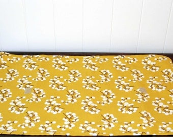 Baby Changing Pad in Mustard yellow with cotton Blossoms