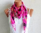 Skull print fringed scarf, pink, black, white, Skull scarves, Woman Scarves, Summer Scarves, Girl Scarf, Turkish Fabric Fringed Guipure
