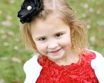 Custom Flowergirl Hair Clip - Christmas Hair Clip - Baby Shower Gift - Black  Flower Hair Clip