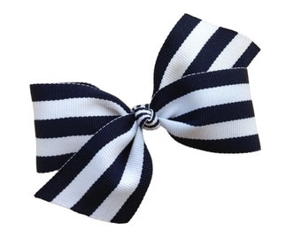 Navy blue striped hair bow - 4 inch bow, hair bows, girls bows, baby bows, boutique bows, toddler bows