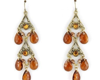 Pretty Gold-tone Caramel/Brown Beads Dangle Drop Earrings D6