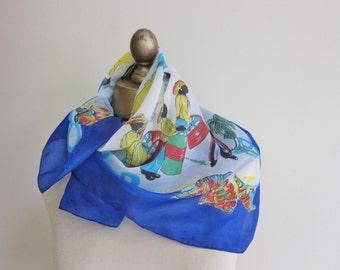 GRAND BAHAMA   vintage scarf, island scarf, summer scarves, 1960s scarf, travel scarf